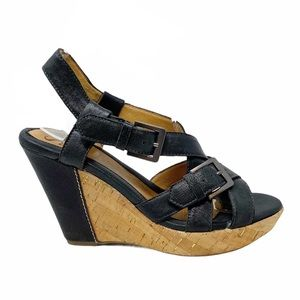 Sofft   Leather Strappy  Cork Wedge